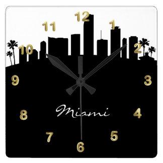 Black and White Miami Skyline Clock