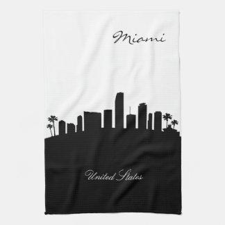 Black and White Miami Skyline Hand Towels