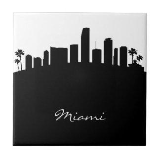 Black and White Miami Skyline Small Square Tile