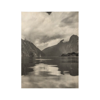 Black and White Milford Sound Wood Poster