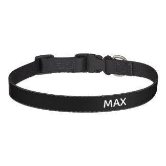 Black and white minimalist custom name dog collar