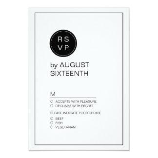 Black and white minimalist modern wedding RSVP Card