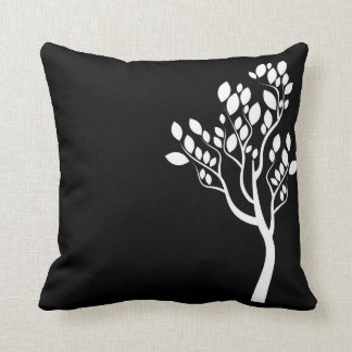 Black and White Minimalist Tree Silhouette Pillow