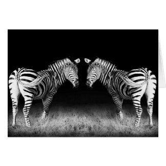 Black and white mirrored zebras card