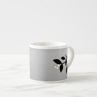 Black and White Mistletoe 6 Oz Ceramic Espresso Cup