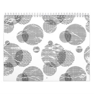 Black and White Mod Dots Distressed Pop Art Calendar