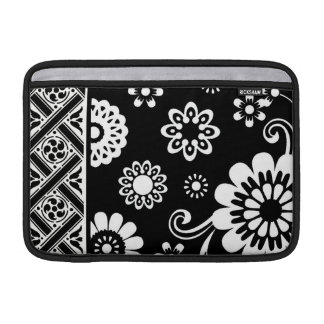 Black and White Mod Floral...ipad sleeve