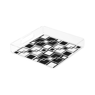 Black and white mod geometrical pattern acrylic tray