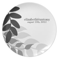 Black and White Mod Vines Plate