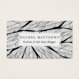 Black and White Modern Abstract Geometric Leaves Business Card