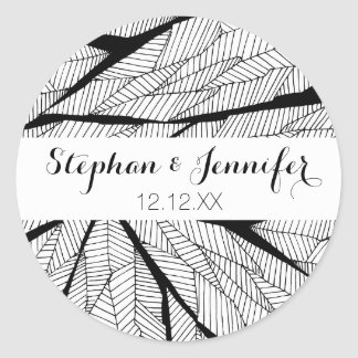 Black and White Modern Abstract Geometric Leaves Classic Round Sticker