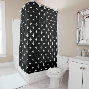 Black And White Modern Airplanes Pilot Shower Curtain