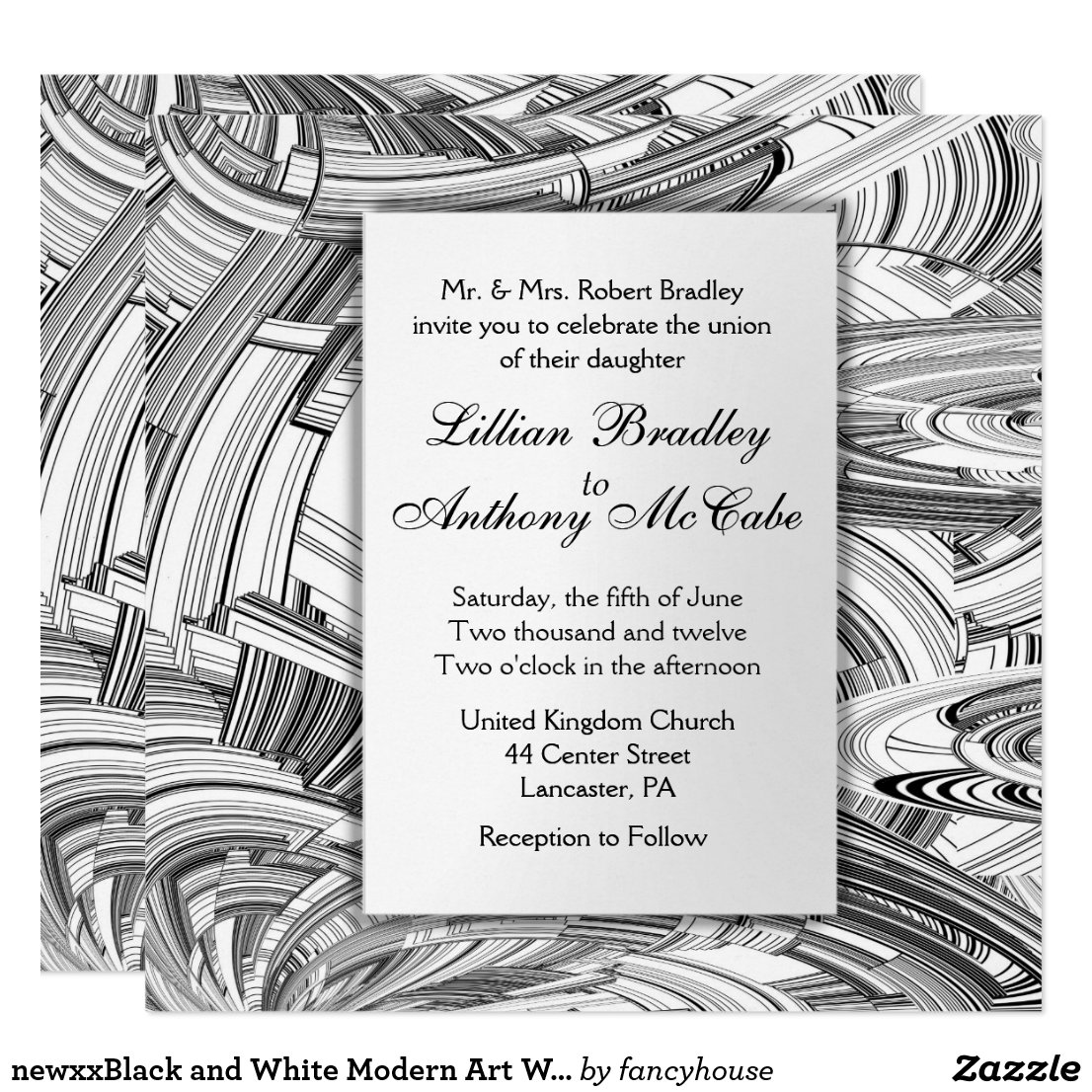 Black and White Modern Art Wedding Invitation