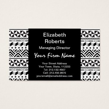 Aztec Themed Black and White Modern Aztec Tribal Stripes Business Card