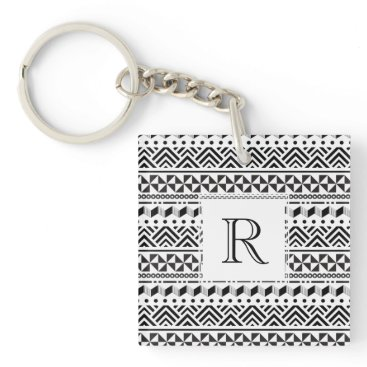 Aztec Themed Black and White Modern Aztec Tribal Stripes Keychain