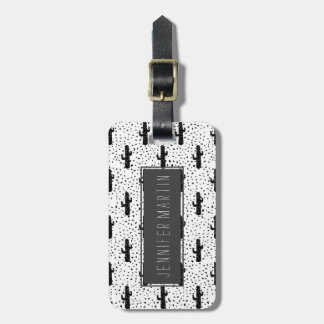 Black and White Modern Cactus and Triangle Geo Bag Tag