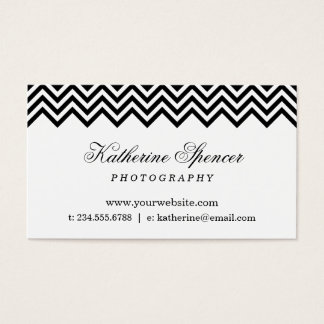 Black and White Modern Chevron and Polka Dots Business Card