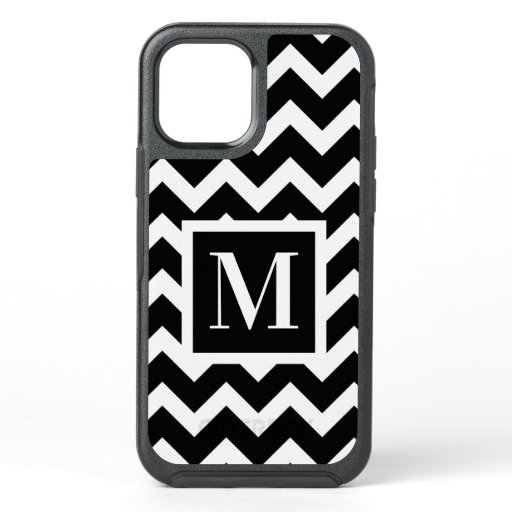 Black and White Modern Chic Zigzag Monogram OtterBox Symmetry iPhone 12 Case