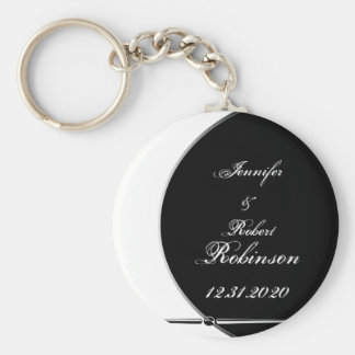 Black and White Modern Circle Posh Wedding Basic Round Button Keychain