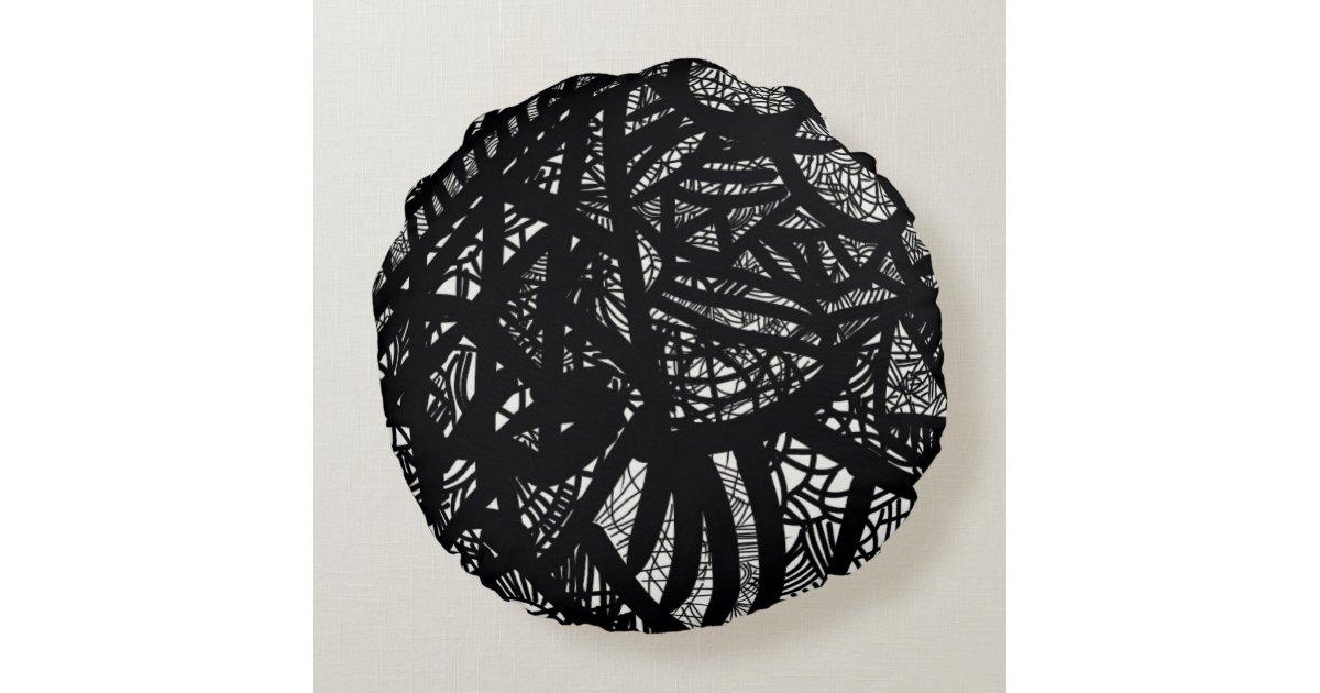 Black and White Modern Design Round Pillow Zazzle