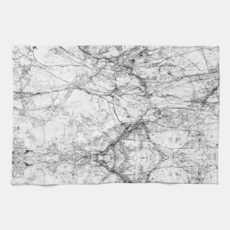Black and White Modern Faux Marble Pattern Kitchen Towel