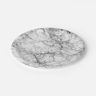 Black and White Modern Faux Marble Pattern Paper Plate