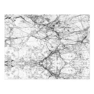 Black and White Modern Faux Marble Pattern Postcard