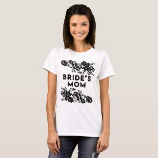 Black and White Modern Floral Accent Bride's Mom T-Shirt