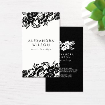 Professional Business Black and White Modern Floral Accent Business Card
