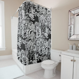 Black And White Modern Floral Paisley Pattern Shower Curtain