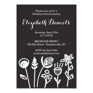 Black and White Modern Floral Party Invitation