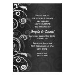 Black and White Modern Floral Wedding Reception Card