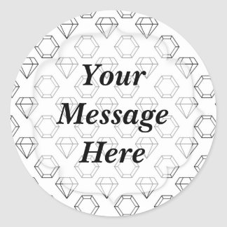 Black and White Modern Gemstone Pattern Classic Round Sticker