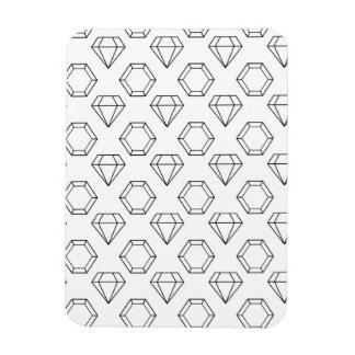 Black and White Modern Gemstone Pattern Magnet