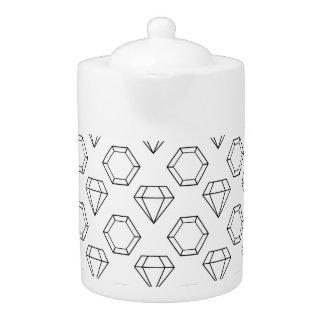 Black and White Modern Gemstone Pattern Teapot