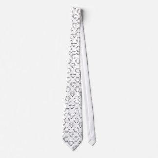 Black and White Modern Gemstone Pattern Tie
