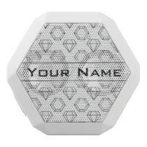 Black and White Modern Gemstone Pattern White Bluetooth Speaker