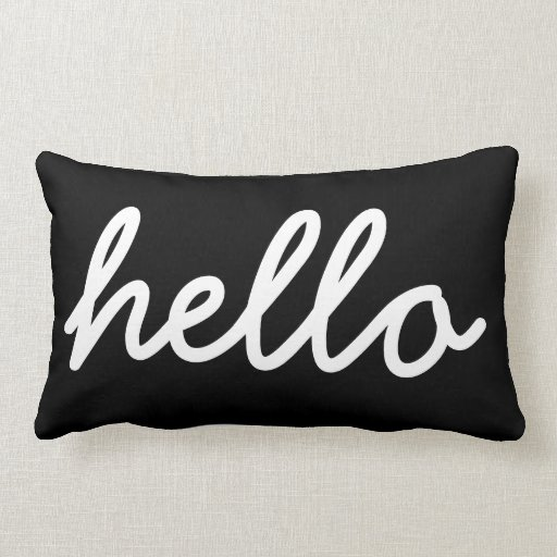 Black and White Modern Hello Throw Pillow Zazzle