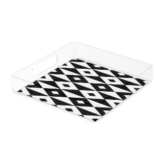 Black and white modern lozenges pattern acrylic tray