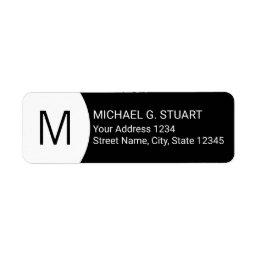 Black and White Modern Minimalist Monogram Label