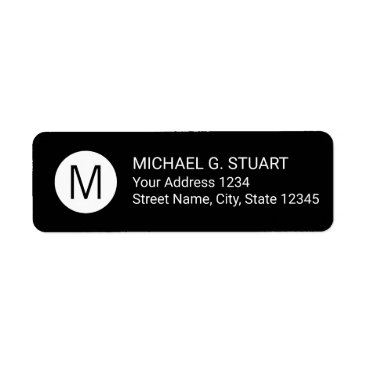 Professional Business Black and White Modern Minimalist Monogram Label