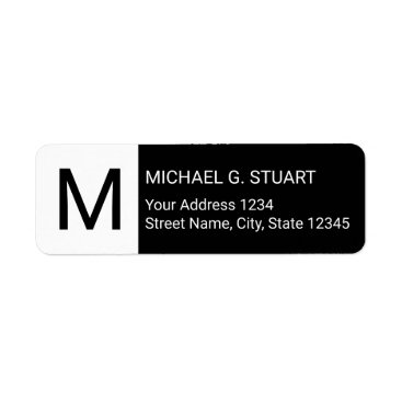 Professional Business Black and White Modern Monogram Label