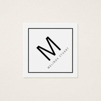 Black and White Modern Monogram Square Business Card
