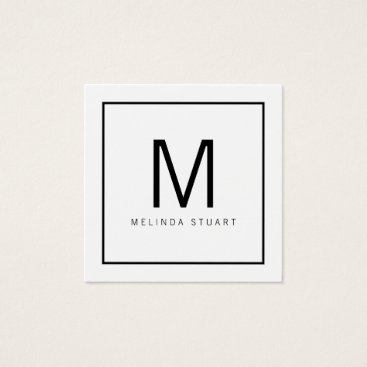 manadesignco Black and White Modern Monogram Square Business Card