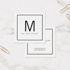 Black And White Modern Monogram Square Business Card at Zazzle