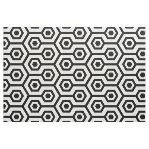 Black and white modern polygonal geometric pattern fabric for Modern patterns black and white