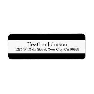 Black and White Modern Return Address Labels