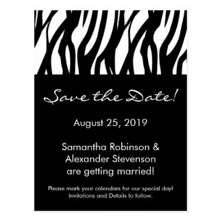 Black and White Modern Stripe Save the Date Card
