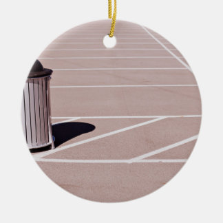 Black and white Modern Striped trash bin Double-Sided Ceramic Round Christmas Ornament
