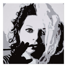 Black and White Modern Style Lady Poster